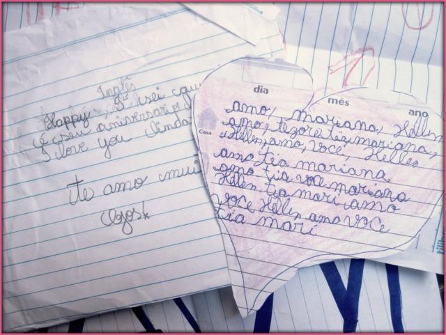Recadinhos dos alunos de escolas! Muito carinho pra uma pessoa só! =)